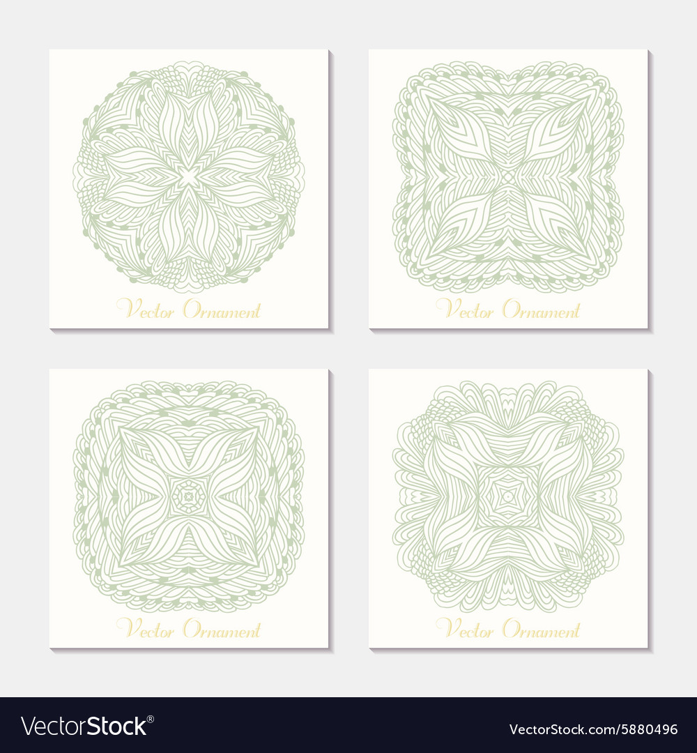Hand drawn outline round ornament Set of cards
