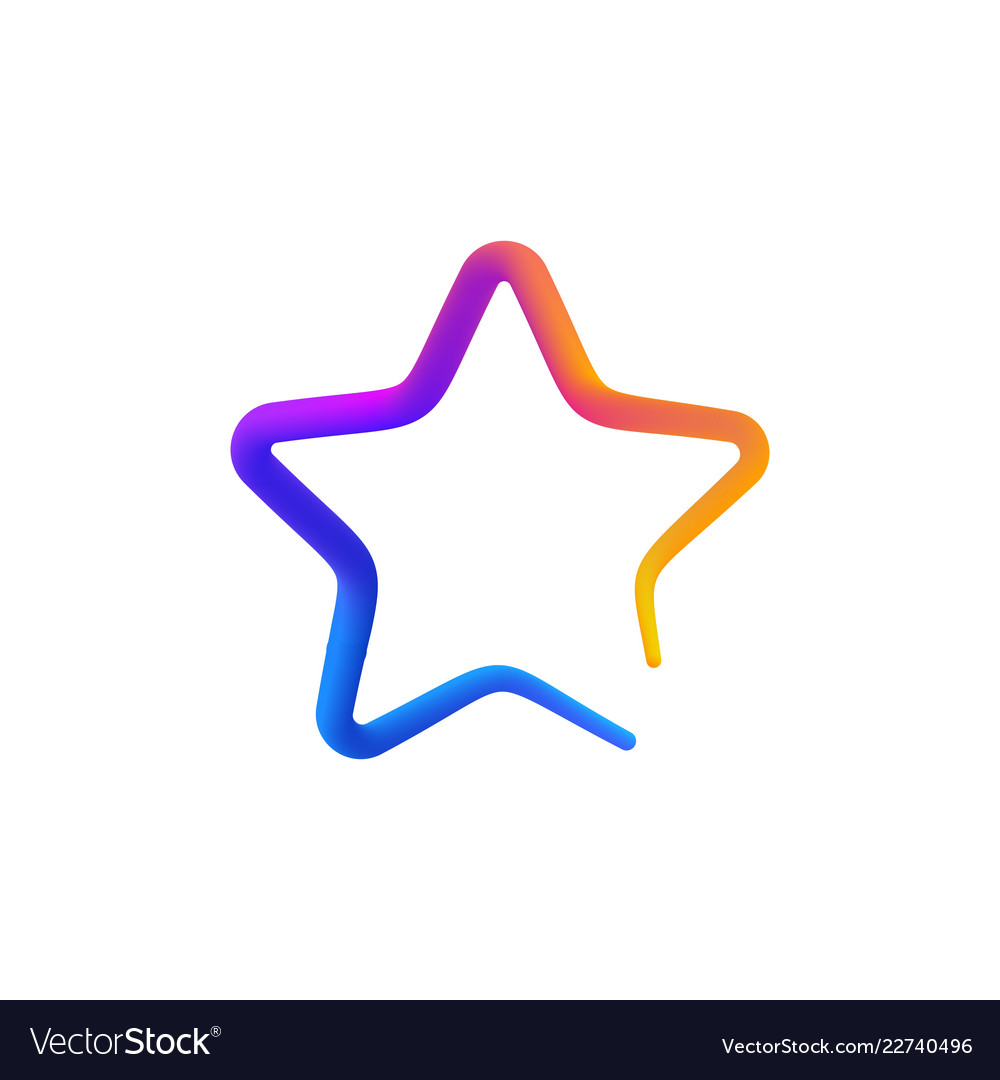 Isolated rainbow gradient colorful star logo on
