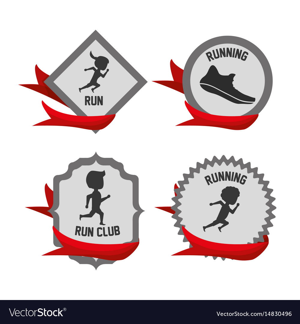 Silhouette set icon related with running and