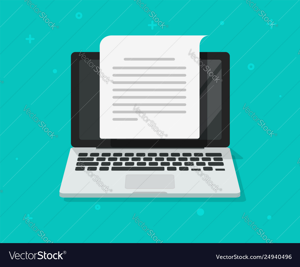 Text document writing on computer