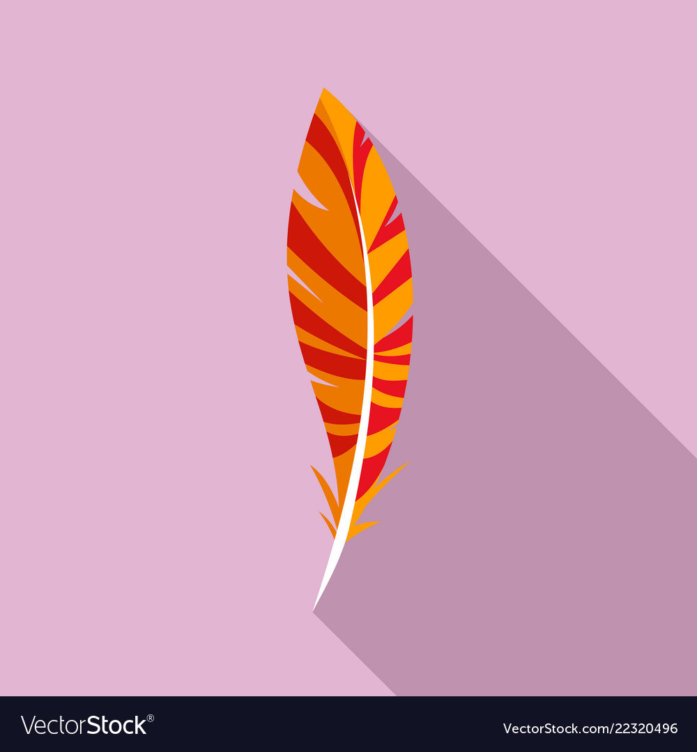 Wing feather icon flat style