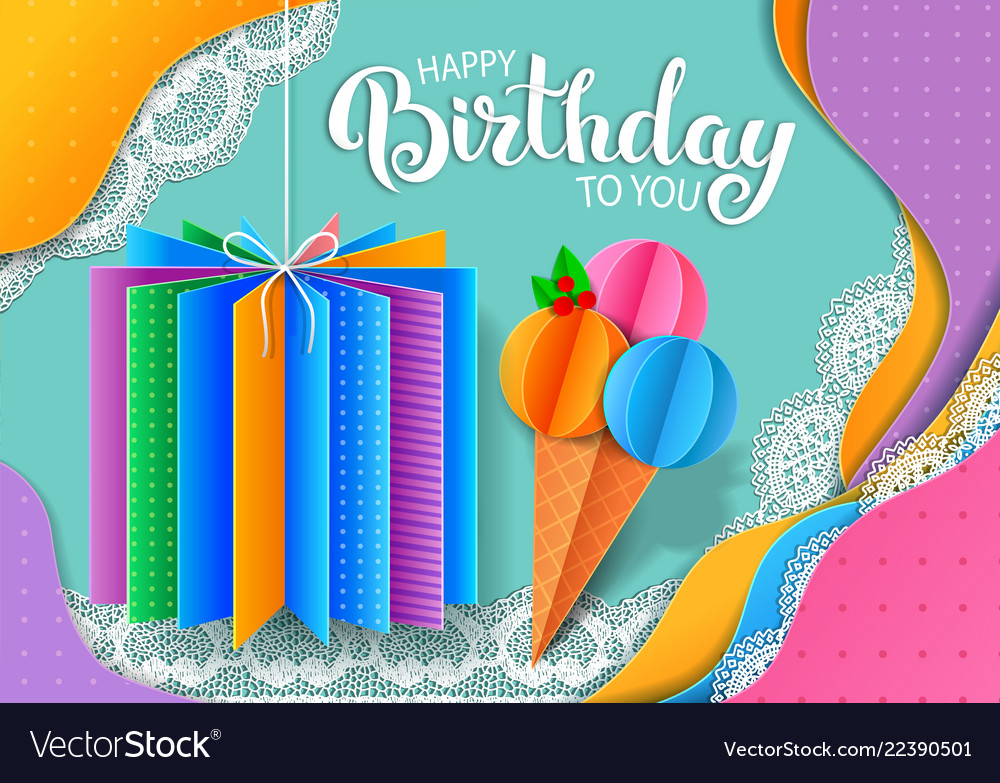 Birthday bright banner design made colored paper