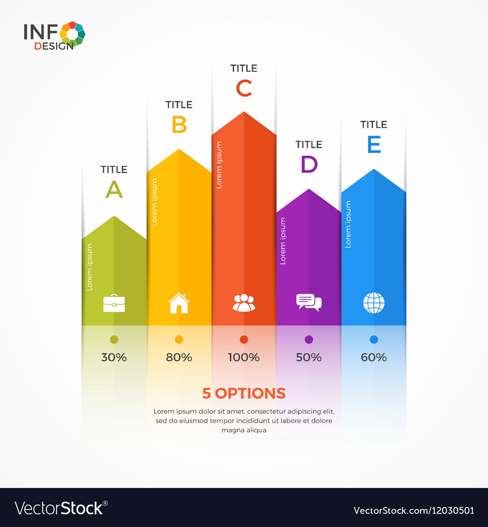 Column chart infographic template 5 options