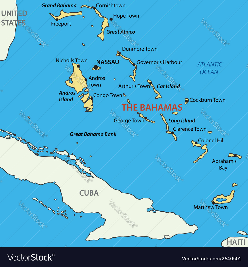 Commonwealth of the Bahamas map Royalty Free Vector Image