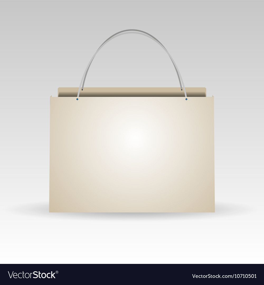 Empty plastic or paper shopping bag on white