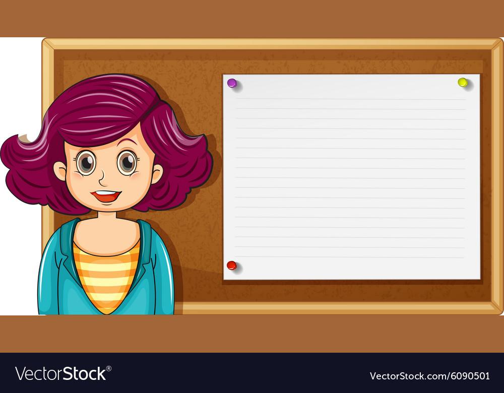 Female teacher and wooden board