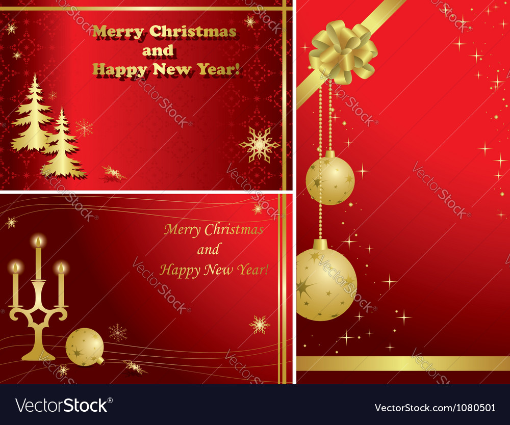Red Christmas Frames With Gold Decor Royalty Free Vector