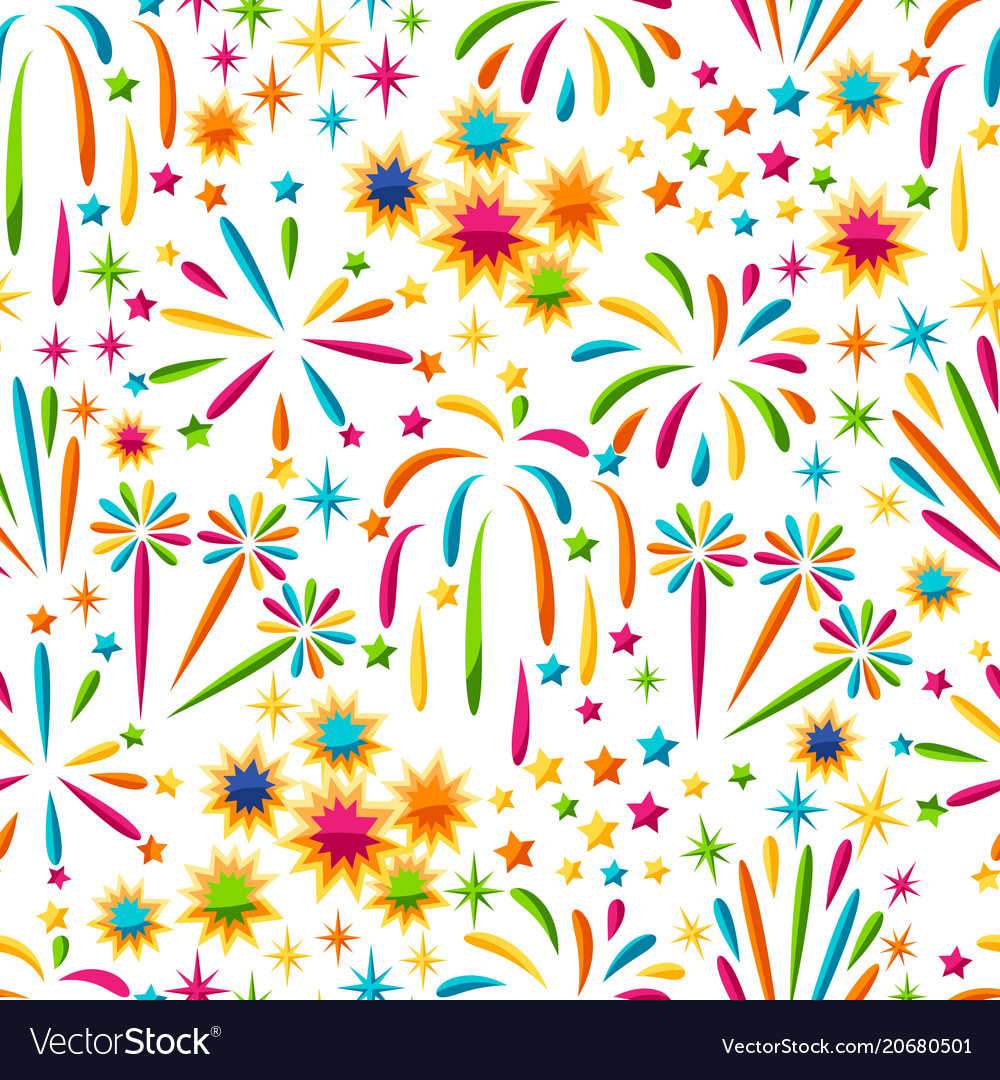 Seamless pattern with bright colorful fireworks