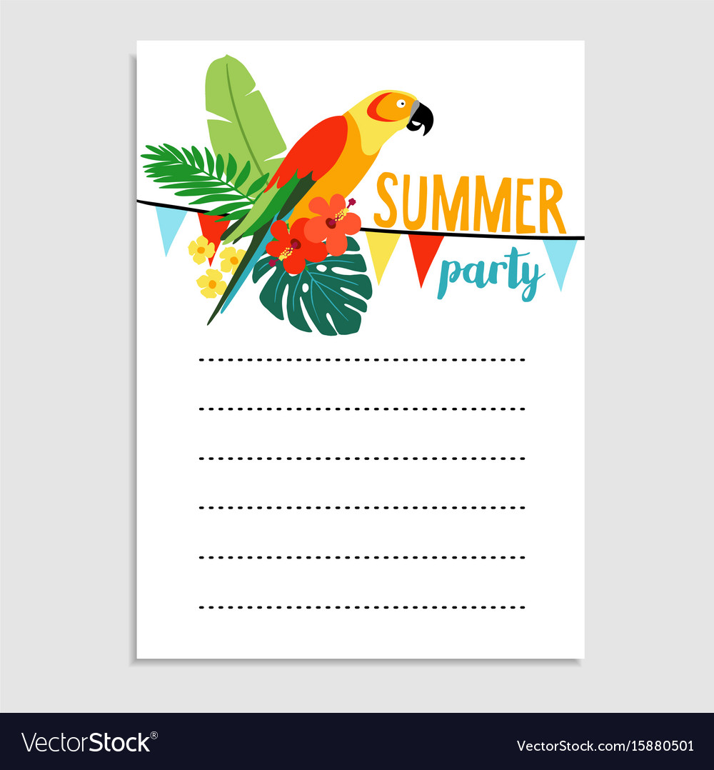 Summer birthday party greeting card invitation Vector Image