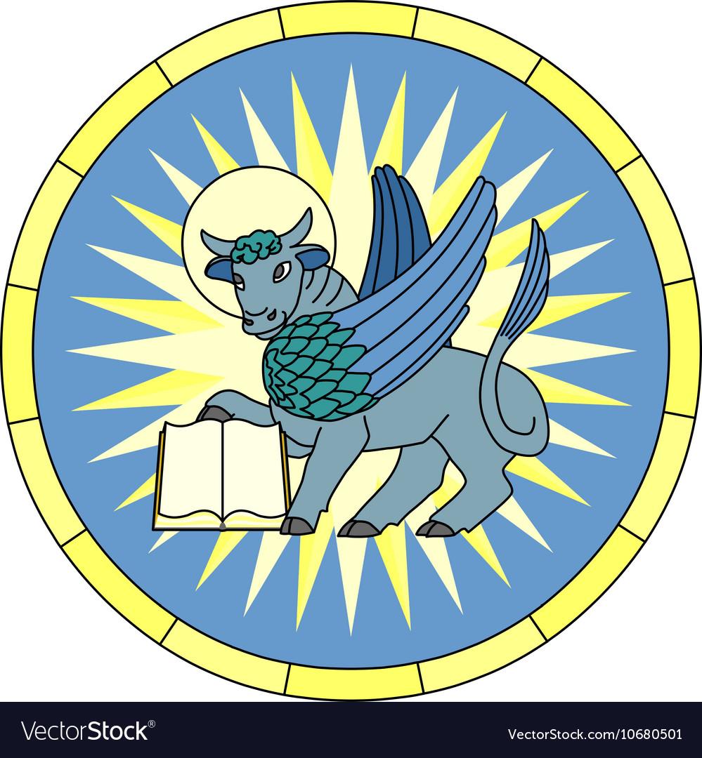 Symbol Of Luke The Evangelist Winged Ox Emblem Vector Image