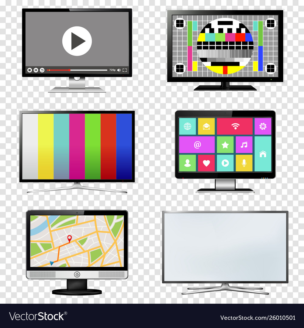 Tv and computer monitor screen set on transparent