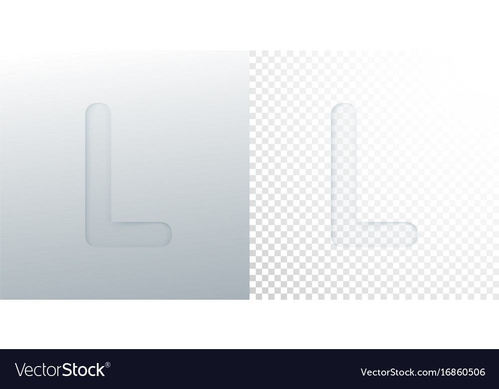 3d paper cut letter l isolated on transparent