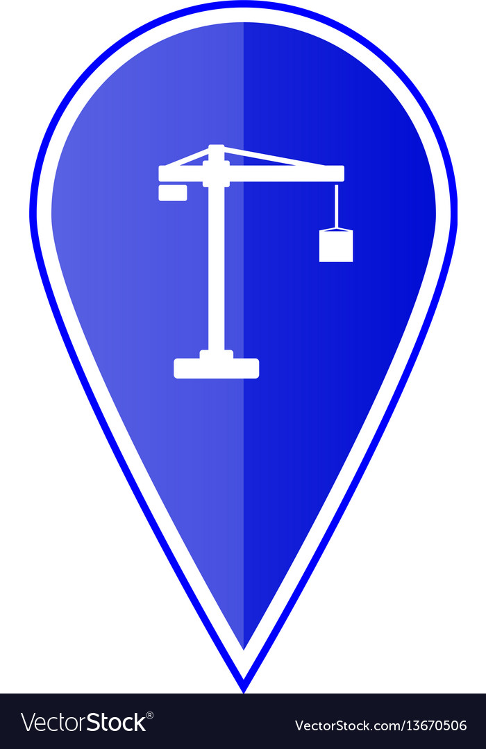 Blue map pointer with construction crane