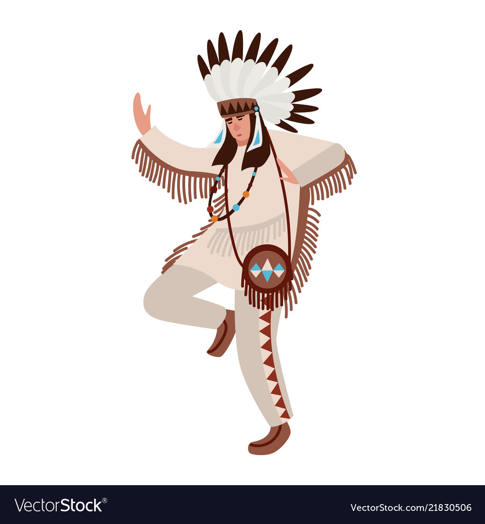 Dancing american indian wearing ethnic costume and