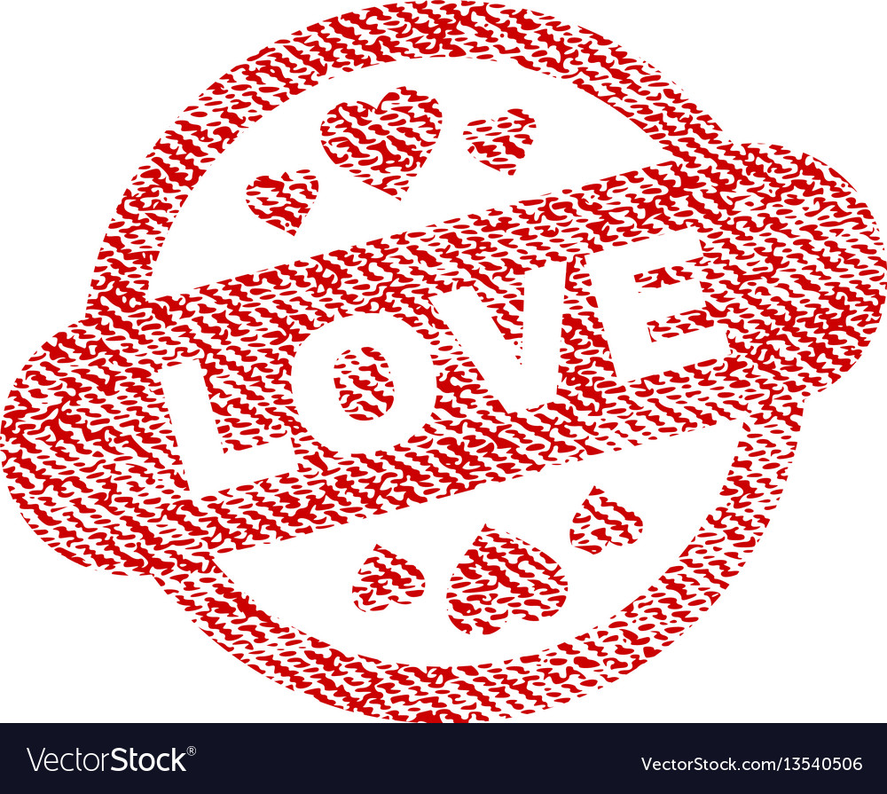 Love stamp seal fabric textured icon