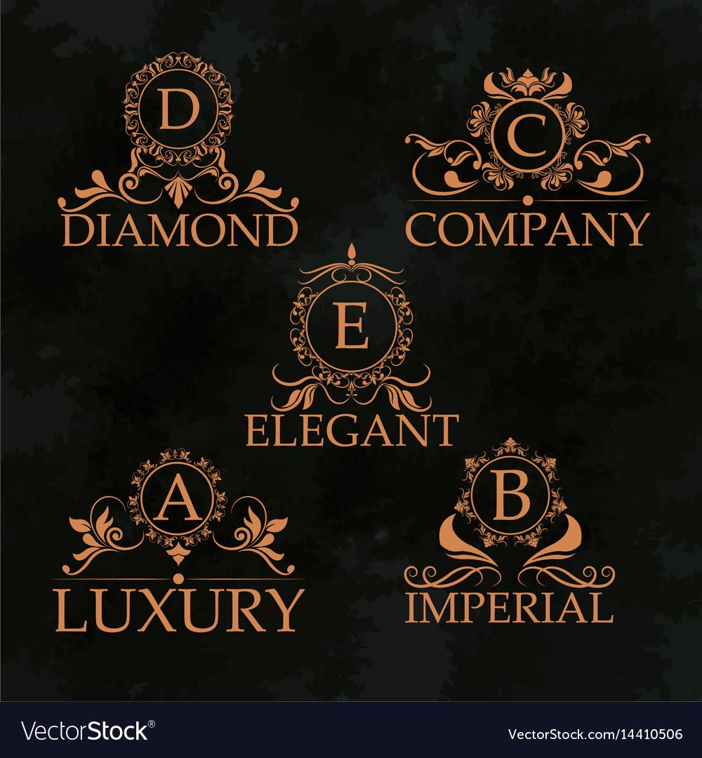 Luxury emblem monogram elegant golden calligraphic
