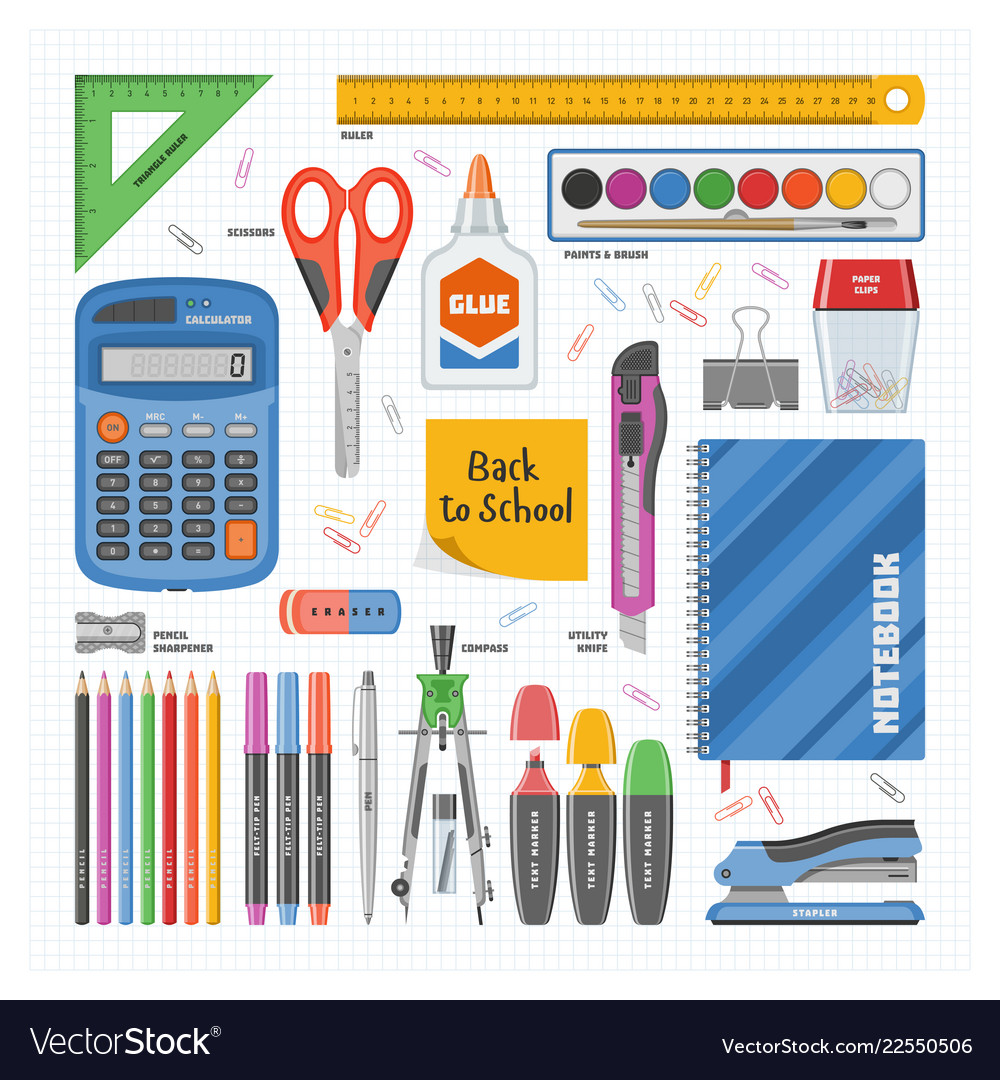 Stationery School Tools Icons Vector Image