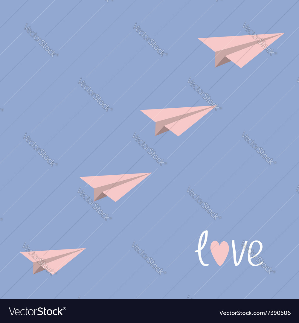Origami paper plane flying in the sky Love card vector image