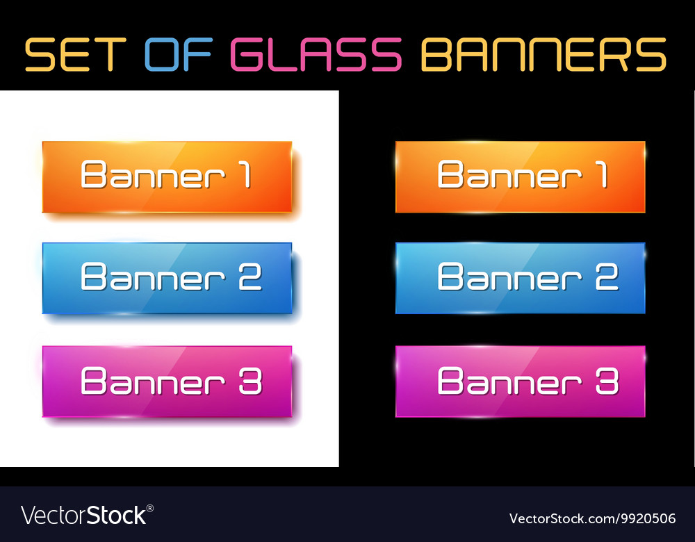 Set of glass orange blue and purple banners