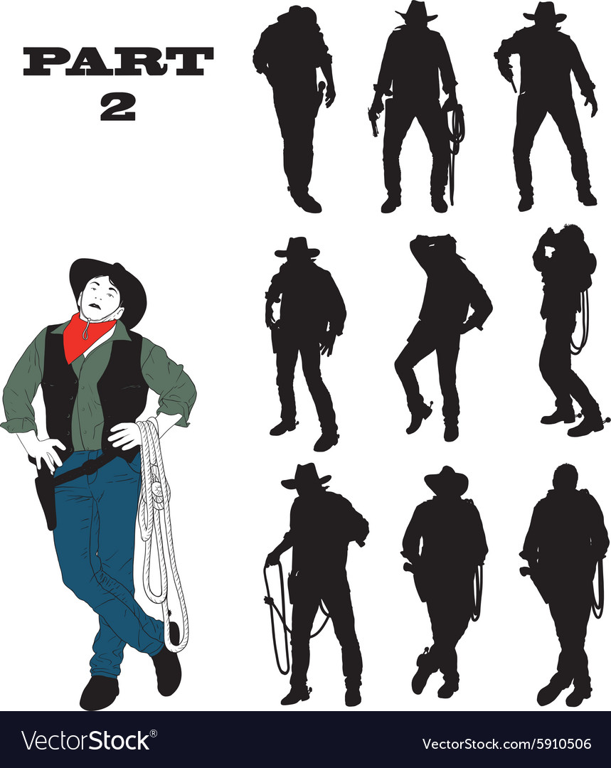 Silhouettes of cowboy vector image