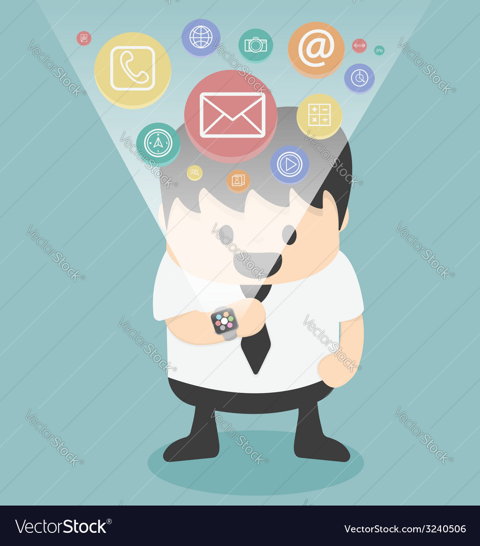Smart watch cartoon flat design vector image