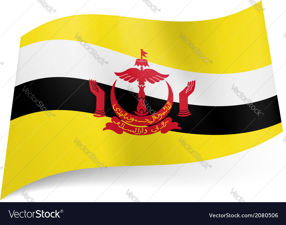 State Flag Of Brunei Royalty Free Vector Image