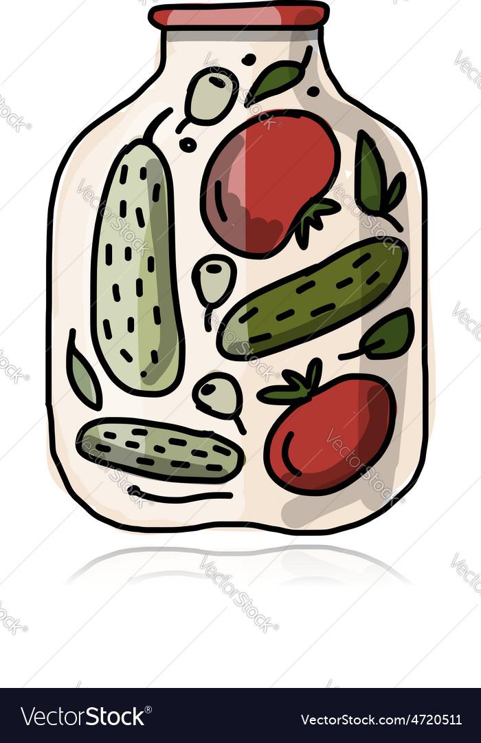 Bank of pickled vegetables sketch for your design