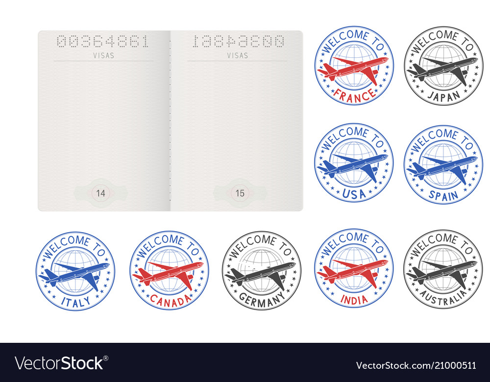 Blank passport pages and decorative travel stamps