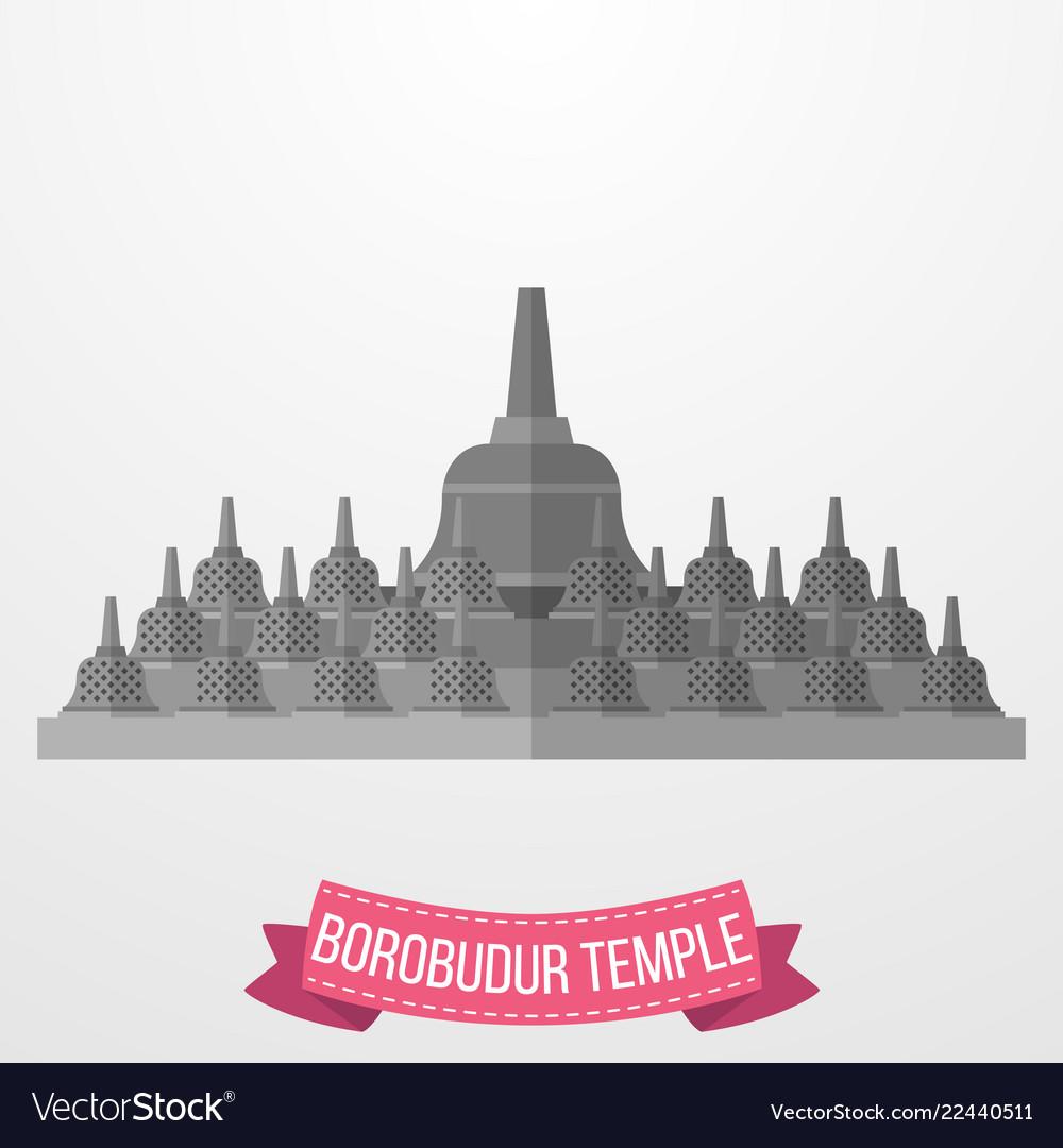 Borobudur temple icon on white background
