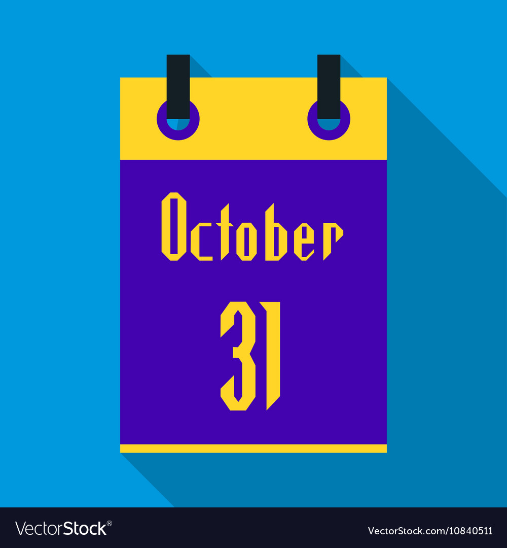 Calendar october thirty first icon flat style