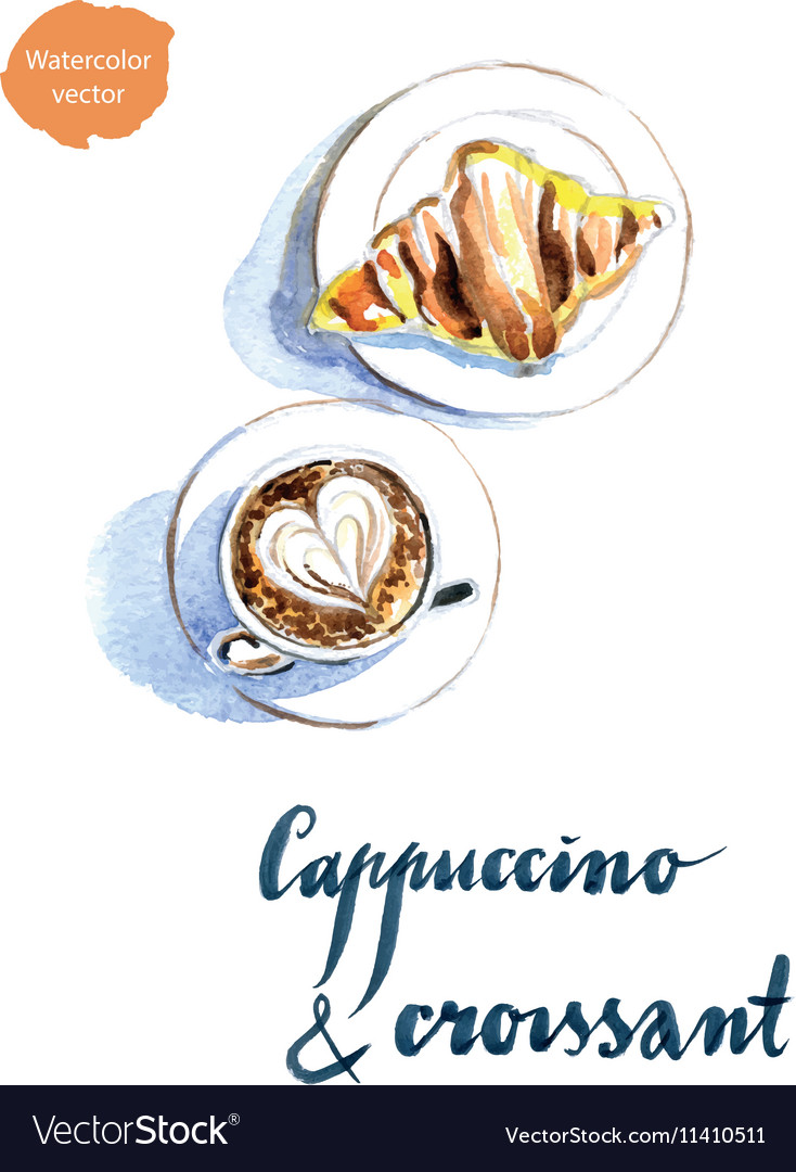 Cappuccino croissant vector image