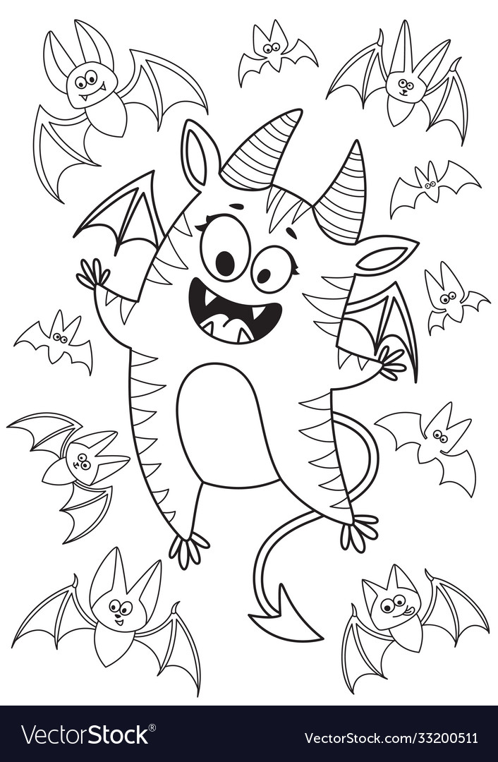 Doodle halloween coloring book page cute monster