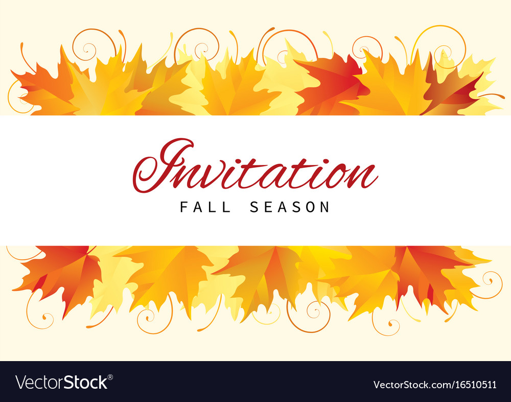 Fall Invitation Card Design With Leaves