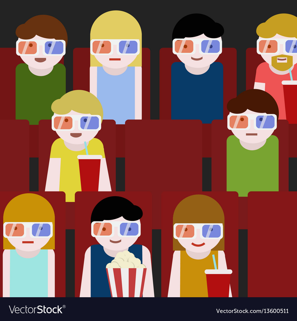 Flat people sitting in the cinema and watching a