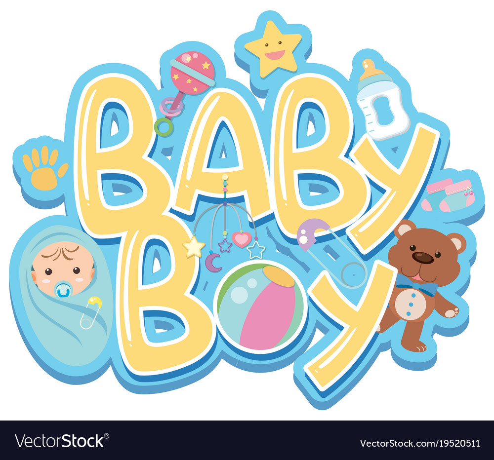 Font Design For Word Baby Boy With Baby And Toys Vector Image