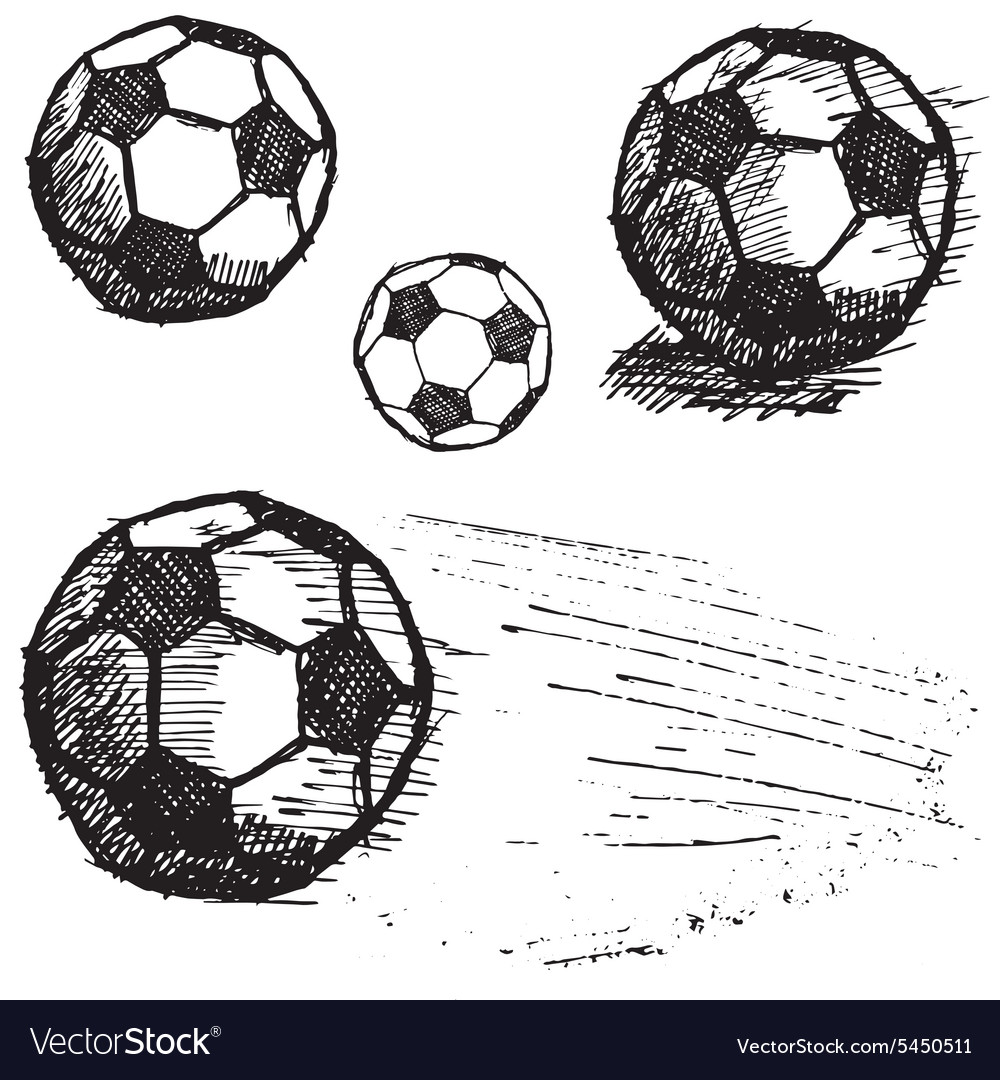 Football soccer ball sketch set isolated on white