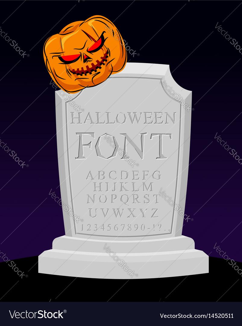 Halloween font carved alphabet letters