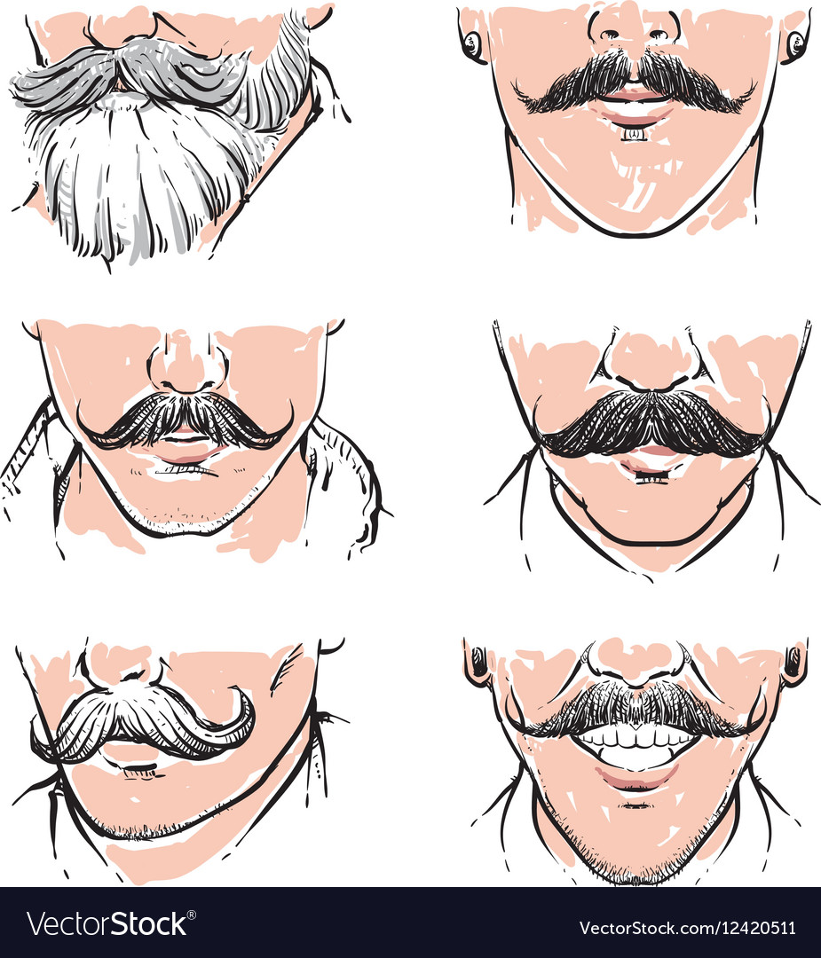 Hipster mustache drawing Retro clipart vector image