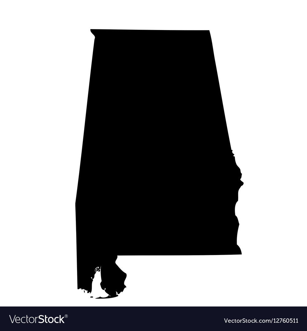 Map of the US state Alabama Royalty Free Vector Image