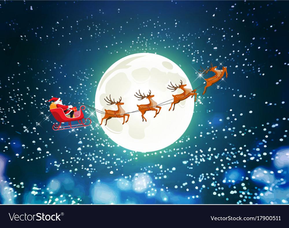 Merry christmas santa claus in sleigh reindeer