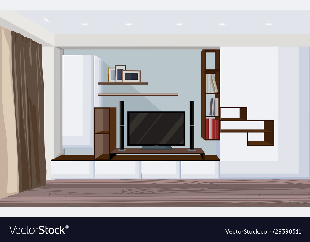Modern Living Room With Big Tv And Shelves Vector Image
