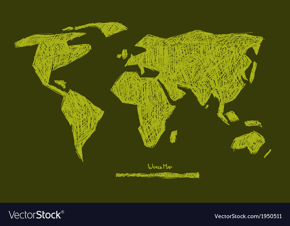 Paper hand drawn green world map royalty free vector image paper hand drawn green world map vector image gumiabroncs Images