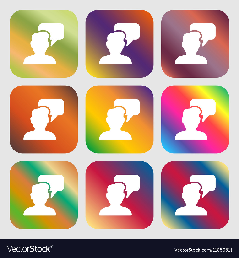 People talking icon sign Nine buttons with bright vector image