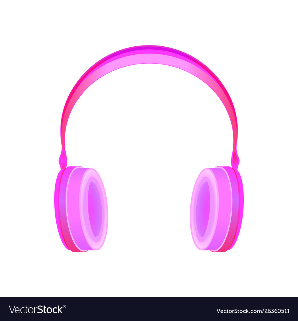 Pink hipster style realistic headphones
