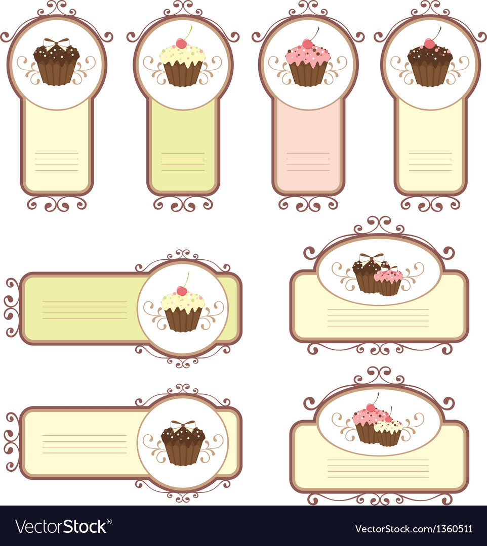 Set of labels with cupcakes
