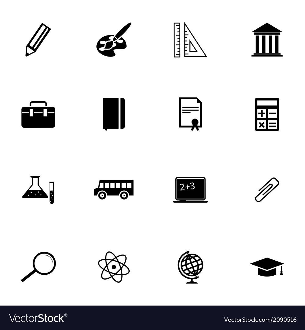 Black education icons set