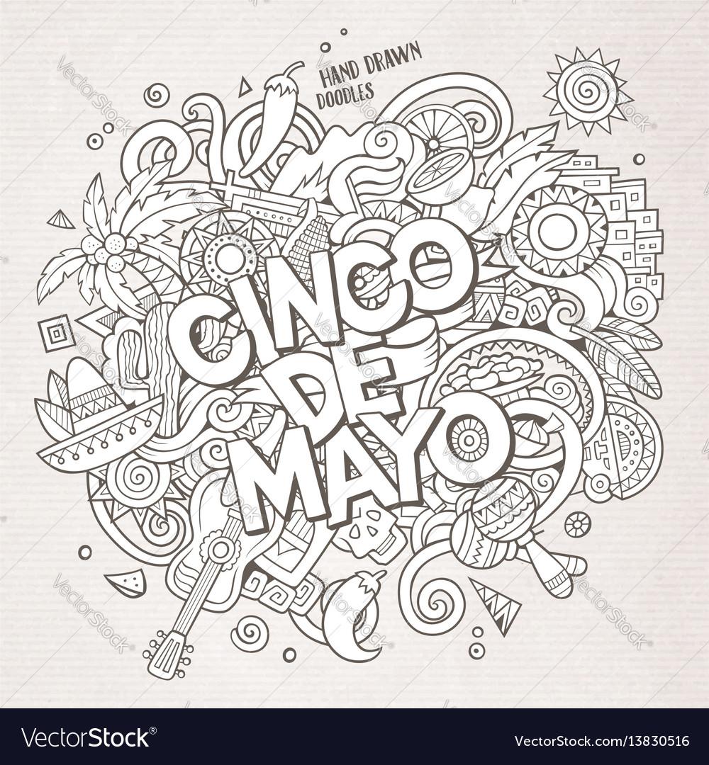 Cinco de mayo cartoon hand drawn doodle