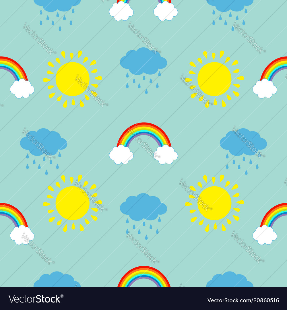Cute cartoon sun cloud with rain rainbow set baby