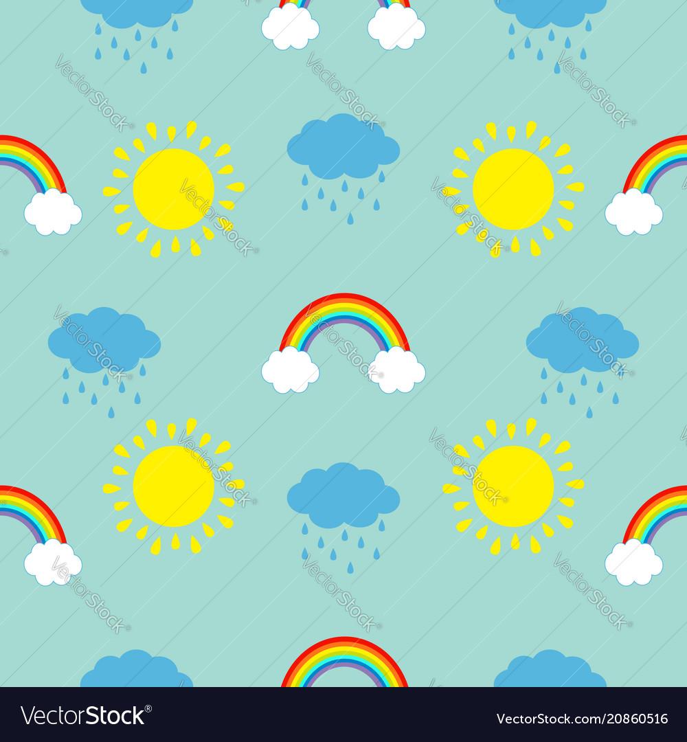 Cute cartoon sun cloud with rain rainbow set baby vector image