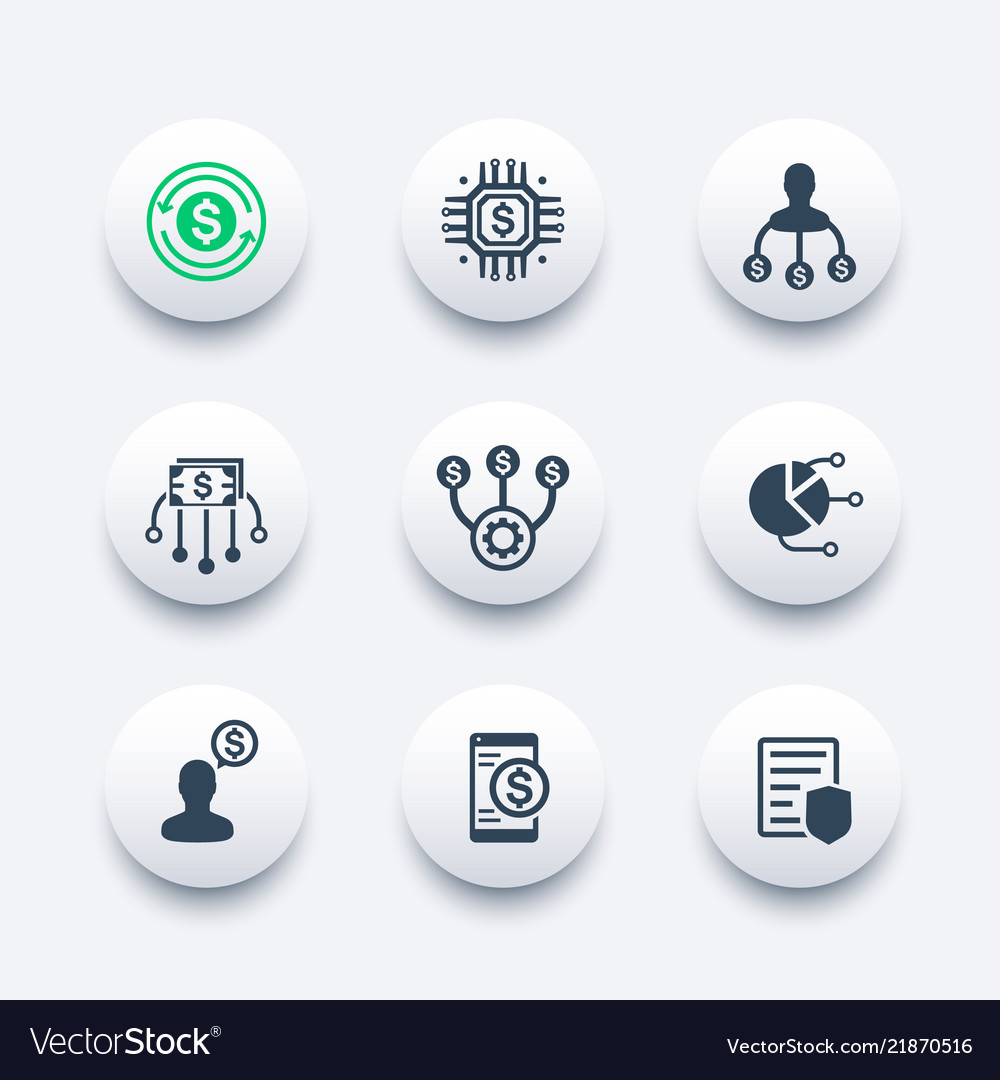 Finance management financial instruments icons